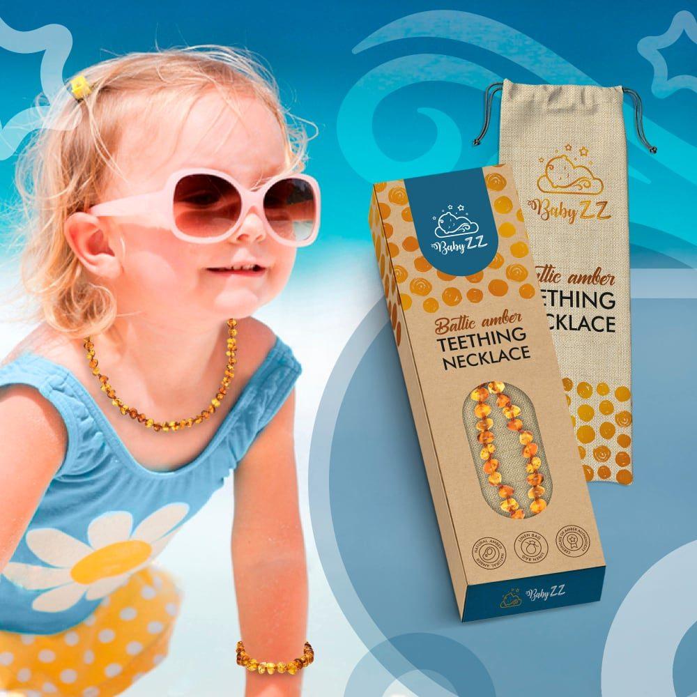 Babyzz bursztynowy naszyjnik na ząbkowanie kolor Koniak 5