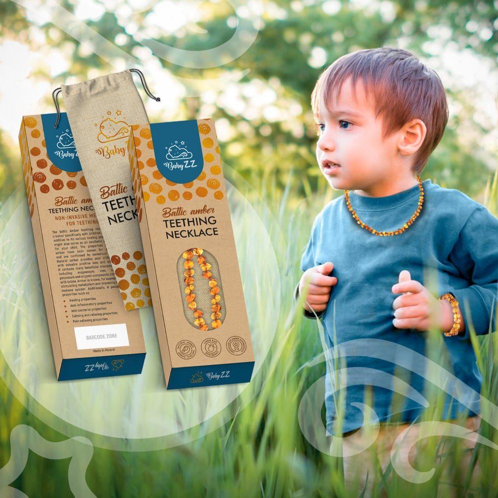 Babyzz bursztynowa bransoletka na ząbkowanie kolor Koniak 6