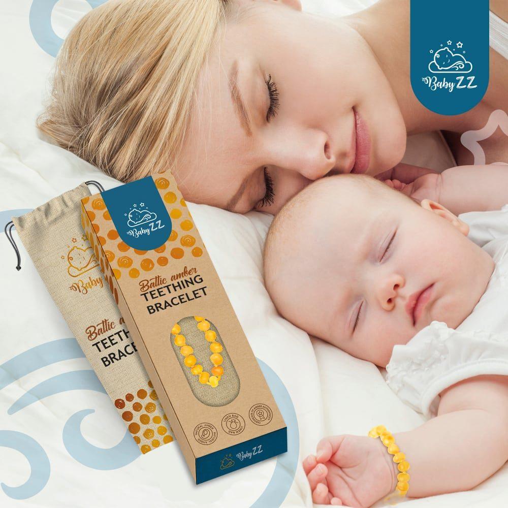 Babyzz bursztynowa bransoletka na ząbkowanie kolor Miodowy 7