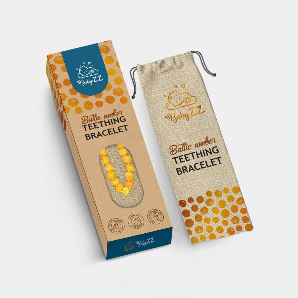 Babyzz bursztynowa bransoletka na ząbkowanie kolor Miodowy mockup