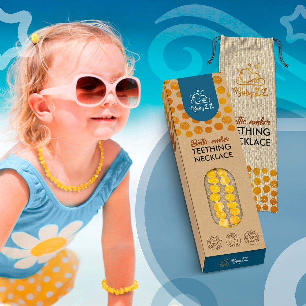 Babyzz bursztynowy naszyjnik na ząbkowanie kolor Miodowy 5