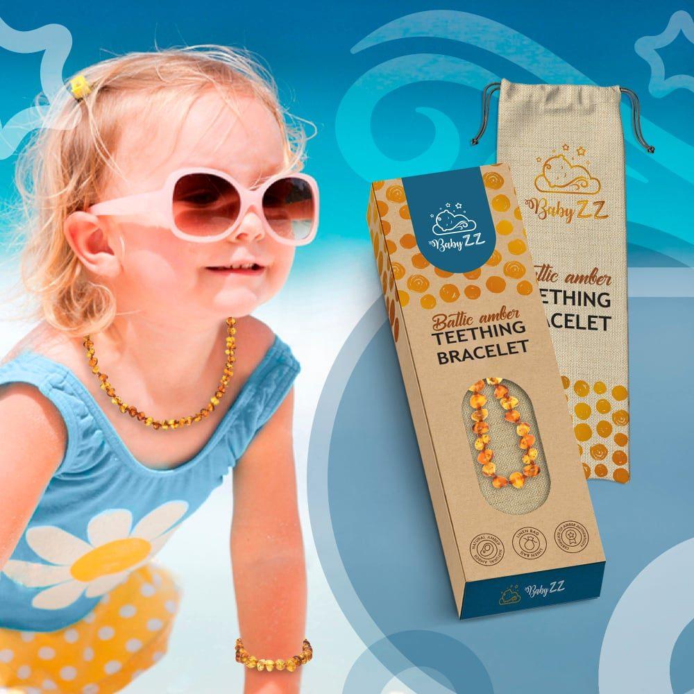 Babyzz bursztynowa bransoletka na ząbkowanie kolor Koniak 5