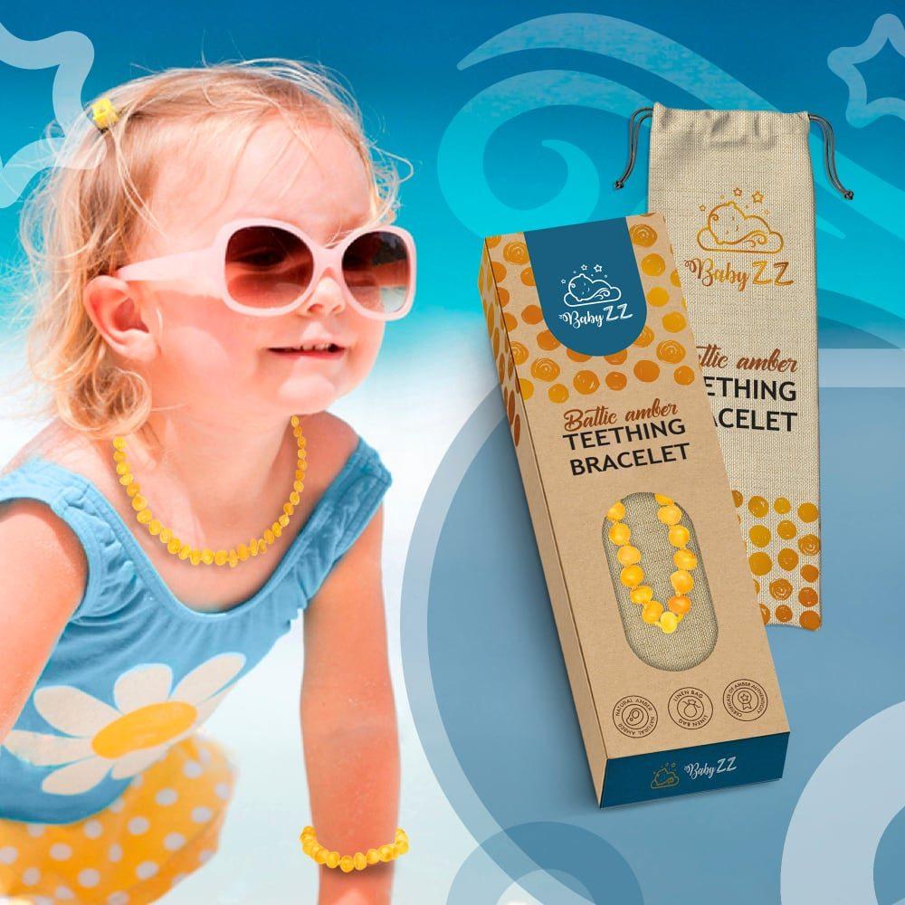 Babyzz bursztynowa bransoletka na ząbkowanie kolor Miodowy 5