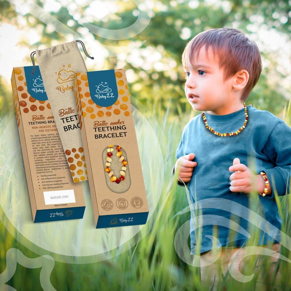 Babyzz bursztynowa bransoletka na ząbkowanie kolor Mix 6