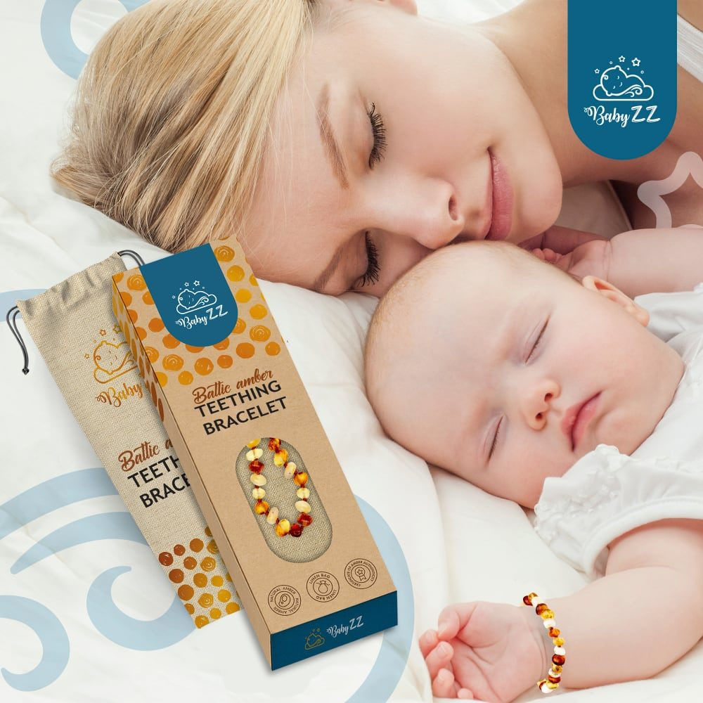 Babyzz bursztynowa bransoletka na ząbkowanie kolor Mix 7