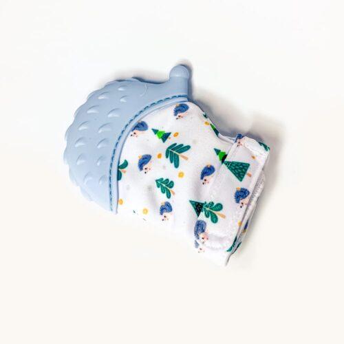 Rękawiczka z gryzakiem na ząbkowanie niebieska.